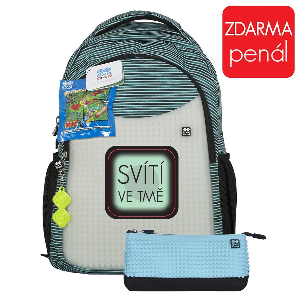 93cfca0ea91 Školní kreativní pixelový batoh s penálem světle modrá šedá PXB-16-02 empty